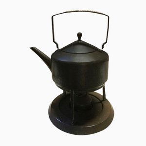 Embossed Brass Teakettle Teapot, 1910s