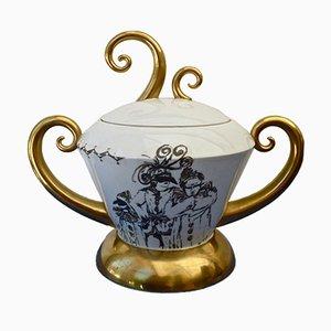 Vaso vintage con coperchio e decorazioni in oro zecchino di Barbara Flügel, Germania