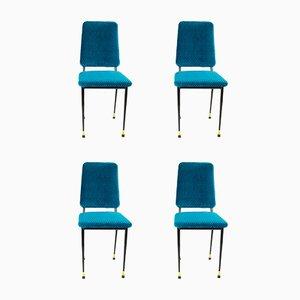 Blue Velvet Chairs, 1950s, Set of 4