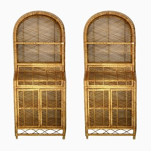 Rattan Bookcases, 1980s, Set of 2