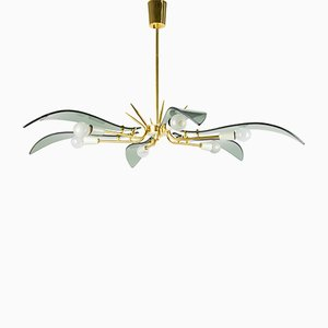 Glass and Brass Chandelier, 1950s