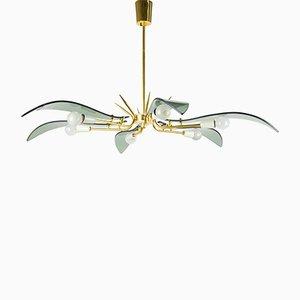 Lámpara de araña de vidrio y latón, años 50