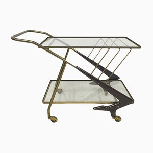 Italian Brass and Wood Drinks Trolley, 1950s