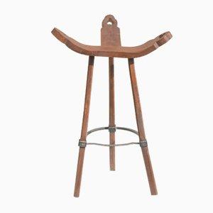 Dreieckiger Hocker aus Eisen und Holz, 1970er
