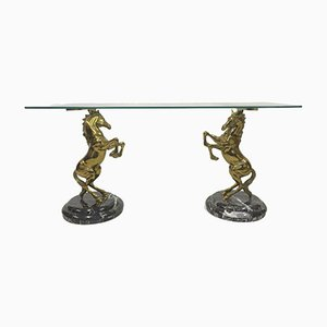 Italian Brass Horse and Marble Console Table, 1970s