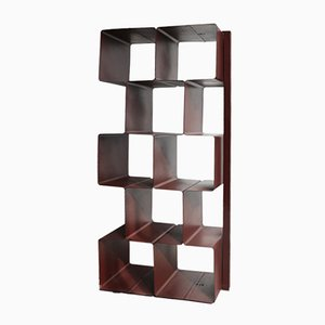 Burgundy Steel Bookcase, 1970s