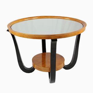 Vintage Art Deco Maple and Mirror Side Table