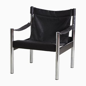Vintage Safari Chair in Black from Johanson Design, 1960s