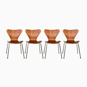 3107 Teak Dining Chairs by Arne Jacobsen for Fritz Hansen, 1960s, Set of 4