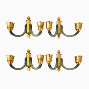 Französische Mid-Century Wandlampen aus Messing und Stahl, 1950er, 4er Set