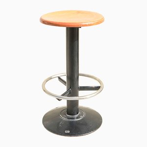 Italian Painted & Chromed Swivel Stool, 1970s