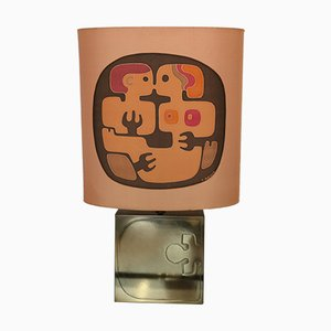 Brass & Wood Lamp with Painted Silk Shade by Yves Maheux, 1970s
