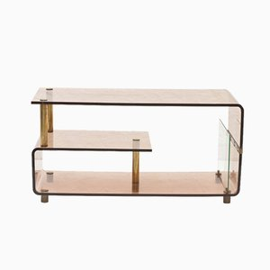 Italian Perspex Shelving Unit with Brass Details, 1970s