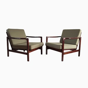 Olive Lounge Armchairs by Zenon Bączyk for Swarzędzkie Fabryki Mebli, 1960s, Set of 2
