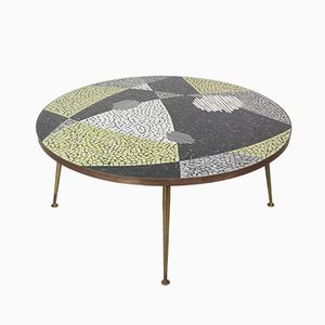 Large Round Mosaic Coffee Table by Berthold Muller, 1960s