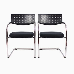 Vintage Chrome and Plastic Vis a Vis Chairs from Vitra, Set of 2