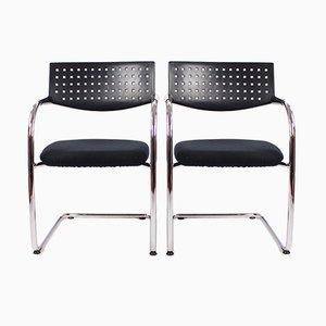 Vintage Vis a Vis Stühle aus Chrom und Kunststoff von Vitra, 2er Set