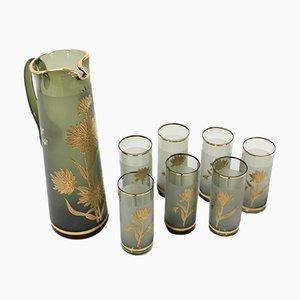 Jarra con 7 vasos de Bohemia Glass, años 70