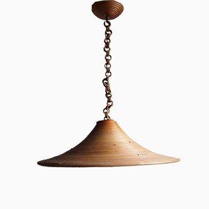 Lámpara de techo de bambú, años 60