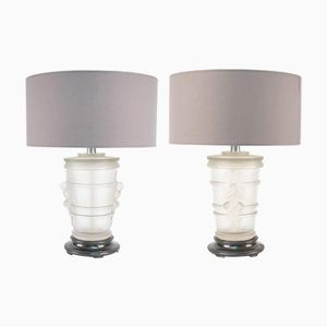 Vintage Glass Table Lamps by Marc Lalique, Set of 2