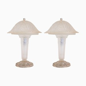 Glass Table Lamps from Hettier & Vincent, 1930s, Set of 2