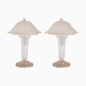 Lampes de Bureau en Verre de Hettier & Vincent, 1930s, Set de 2