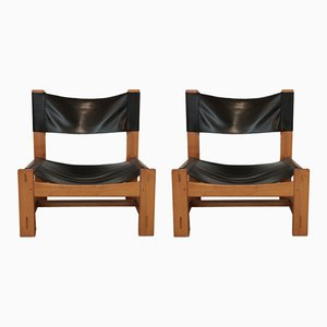Natural Wood & Black Leather Lounge Chairs, 1970s, Set of 2