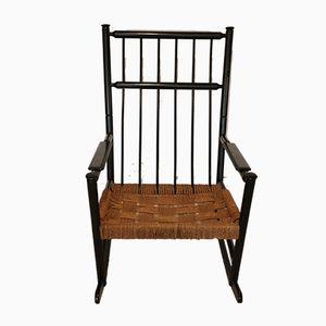 Schaukelstuhl mit Sitz aus Seil, 1960er