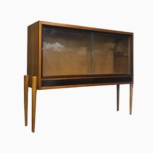 Mid-Century Glass Fronted Glazed Teak Sideboard