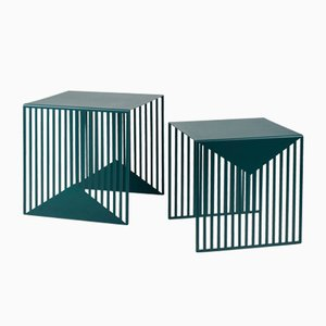 Tables Gigognes ZICK ZACK Bleu-Vert par Olga Bielawska pour Swedish Ninja