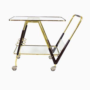 Italian Rosewood and Brass Bar Cart, 1950s