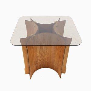 Mesa escandinava de chapa de madera curvada, años 70