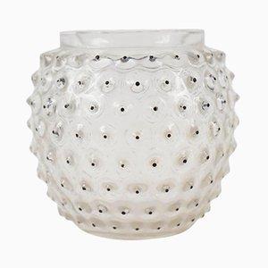 Vase Cactus Vintage avec Émail Noir par René Lalique