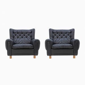 Mid-Century Black Leather Armchairs, 1970s, Set of 2