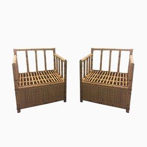 Französische Sessel aus Bambus & Rattan, 1970er, 2er Set