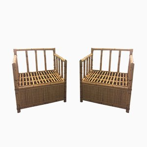 Sillas francesas de bambú y ratán, años 70. Juego de 2