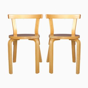 Vintage Model 68 chairs by Alvar Aalto for Artek, Set of 2