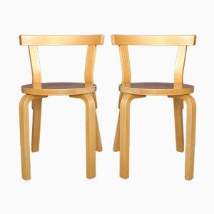 Vintage Modell 68 Stühle von Alvar Aalto für Artek, 2er Set