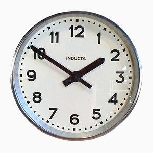 Reloj de pared suizo industrial de Inducta, años 70