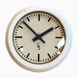 White Industrial Factory Wall Clock From Siemens, 1950s