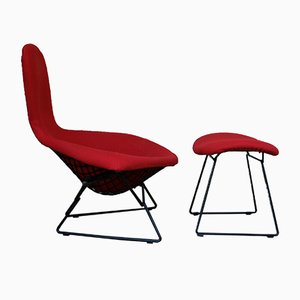 Chaise Oiseau & Ottomane Vintage par Harry Bertoia pour Knoll International