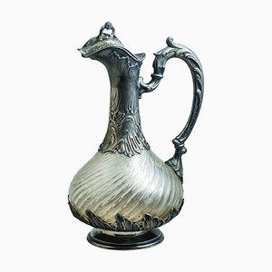 Jarra vino de burdeos francesa de cristal y plata de ley de Veyrat, década de 1880