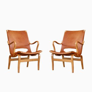 Eva Leather Easy Chairs by Bruno Mathsson for Karl Mathsson, 1966, Set of 2