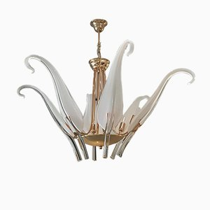 Vintage Iris Leaves Chandelier in Murano Glass & Brass by Archimede Seguso