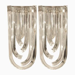 Vintage Curved Murano Crystal Sconces, Set of 2