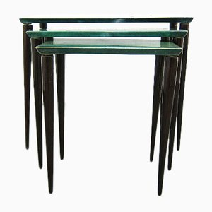 Vintage Green Goat Leather Nesting Tables by Aldo Tura for Tura