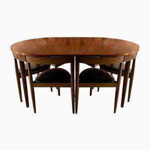 Tavolo da pranzo Dinette vintage con sei sedie di Hans Olsen per Frem Rojle, anni '60
