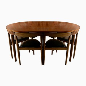 Vintage Dinette Dining Table & 6 Chairs by Hans Olsen for Frem Røjle, 1960s
