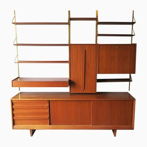 Mid-Century Teak Modular Wall Unit with Low Sideboard, 1960s