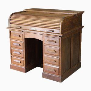 Vintage Oak Tambour Roll Top Desk